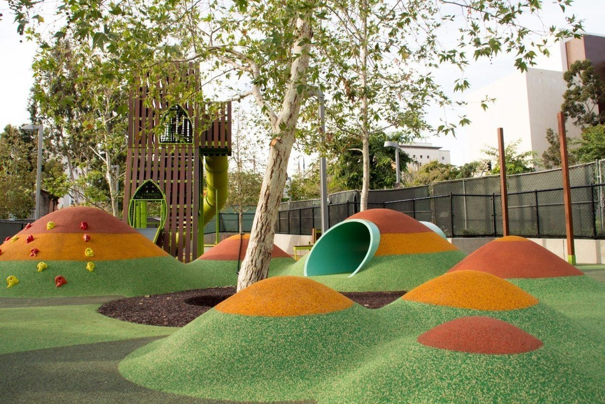 Grand Park S New Playground Is Cartoony And Awesome Playground Design Playgrounds Architecture Outdoor Playground