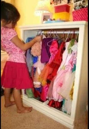 Remove Drawers/doors From An Old Dresser U0026 Add A Tension Rod. Perfect  Storage For A Little Girls Dress Up Clothes