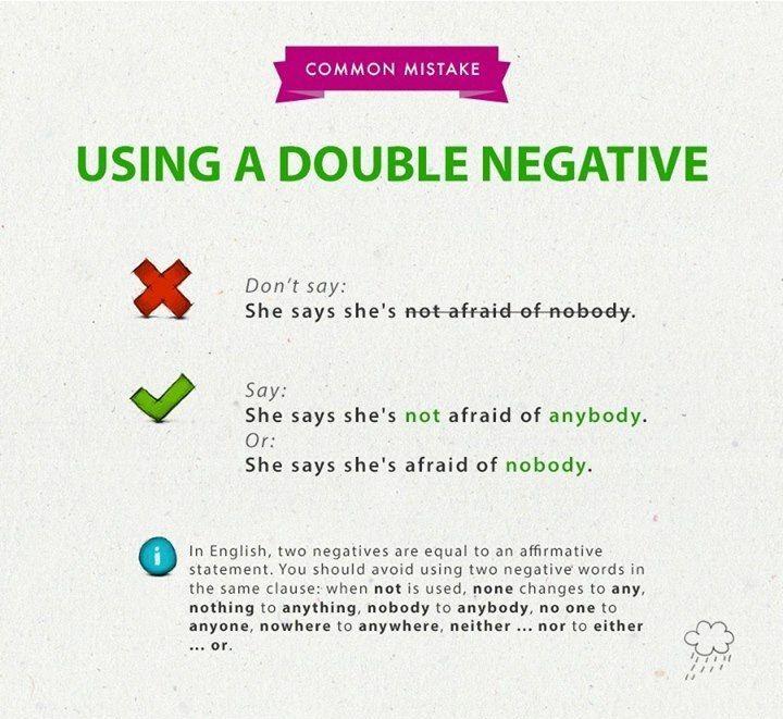 Using A Double Negative English Double Negatives Pinterest