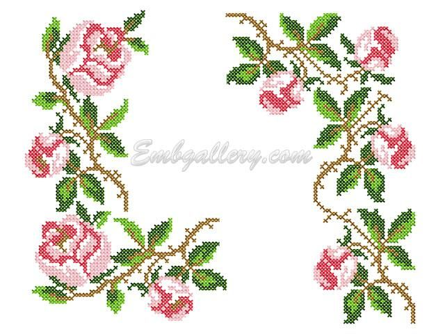 Quot roses in the cross stitch technique machine embroidery