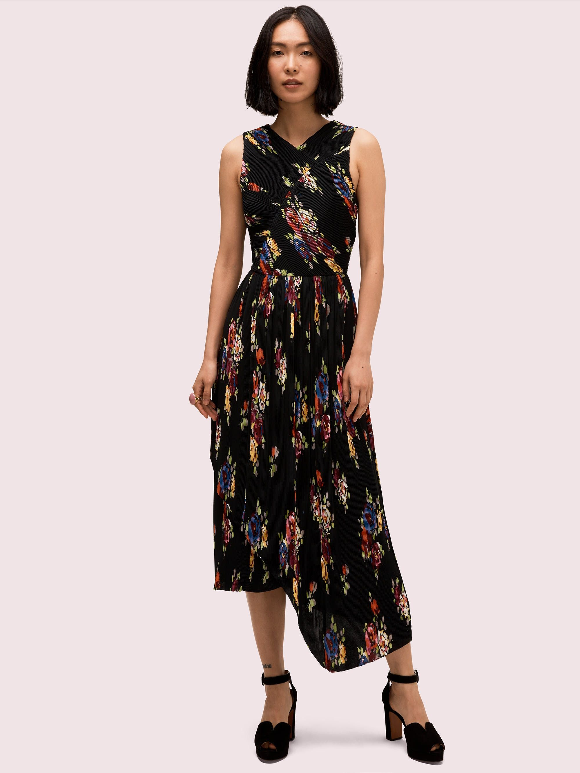 35 Fall Wedding Guest Dresses For Every Budget Pleated Dress Fall Wedding Guest Dress Ruffle Floral Maxi Dress [ 2666 x 2000 Pixel ]