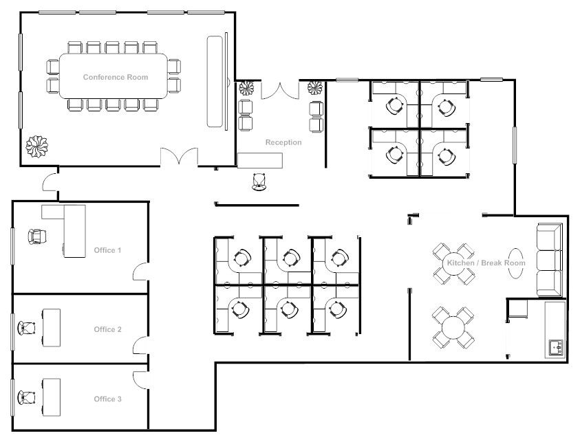 Office Plan Layout Software 3 Great Options Office Floor Plan Office Plan Office Layout Plan