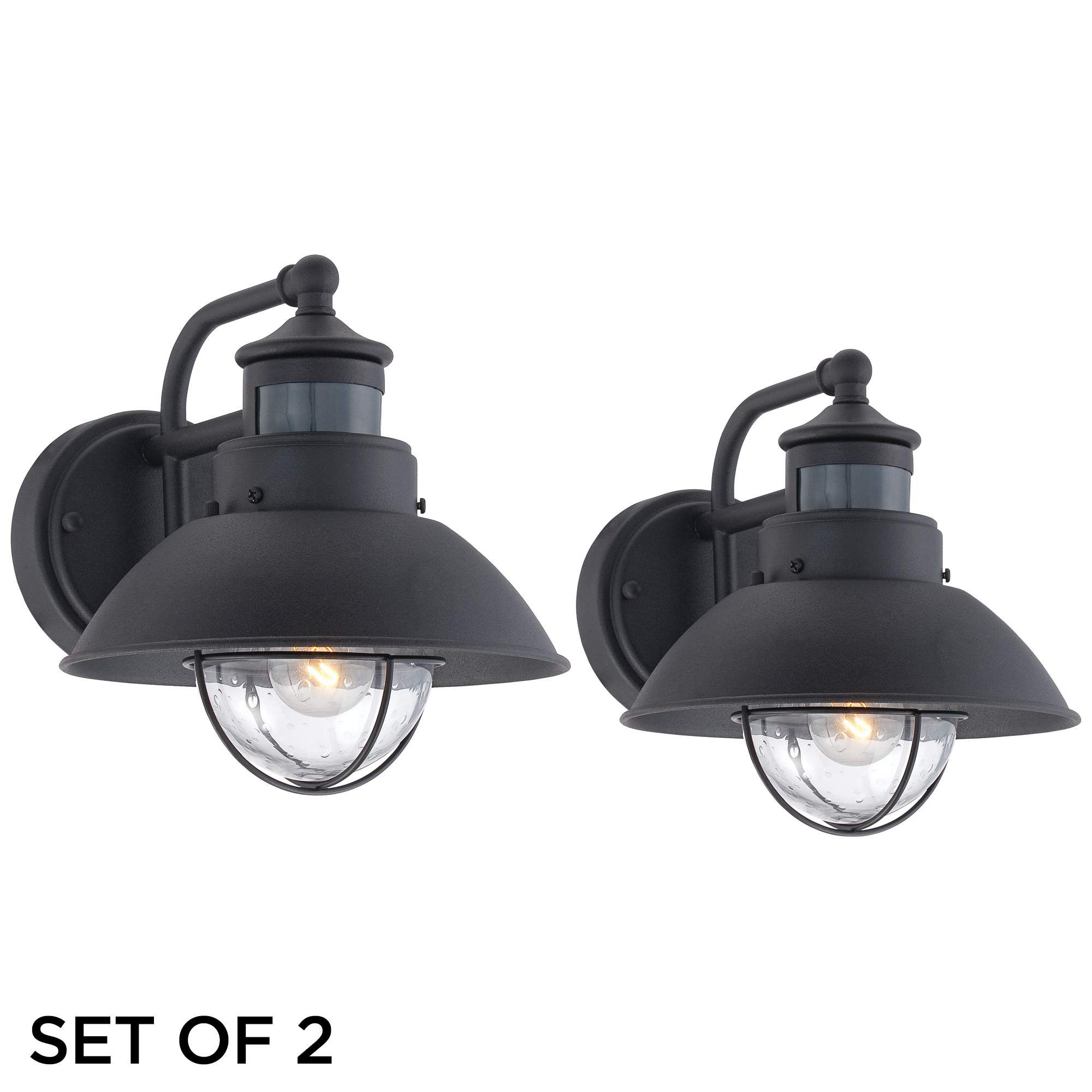 Oberlin Black Motion Sensor Outdoor Wall Lights Set Of 2 73d48 Lamps Plus Outdoor Barn Lighting Outdoor Light Fixtures Wall Lights