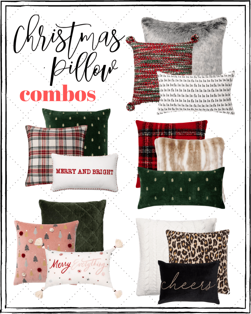 Christmas throw pillow arrangement