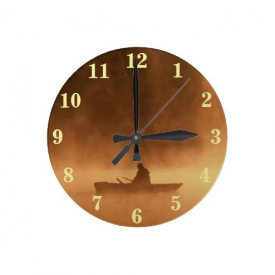 Photo of Unique trendy and decorative clock. With fun and contemporary painting of angler…,  #angler…