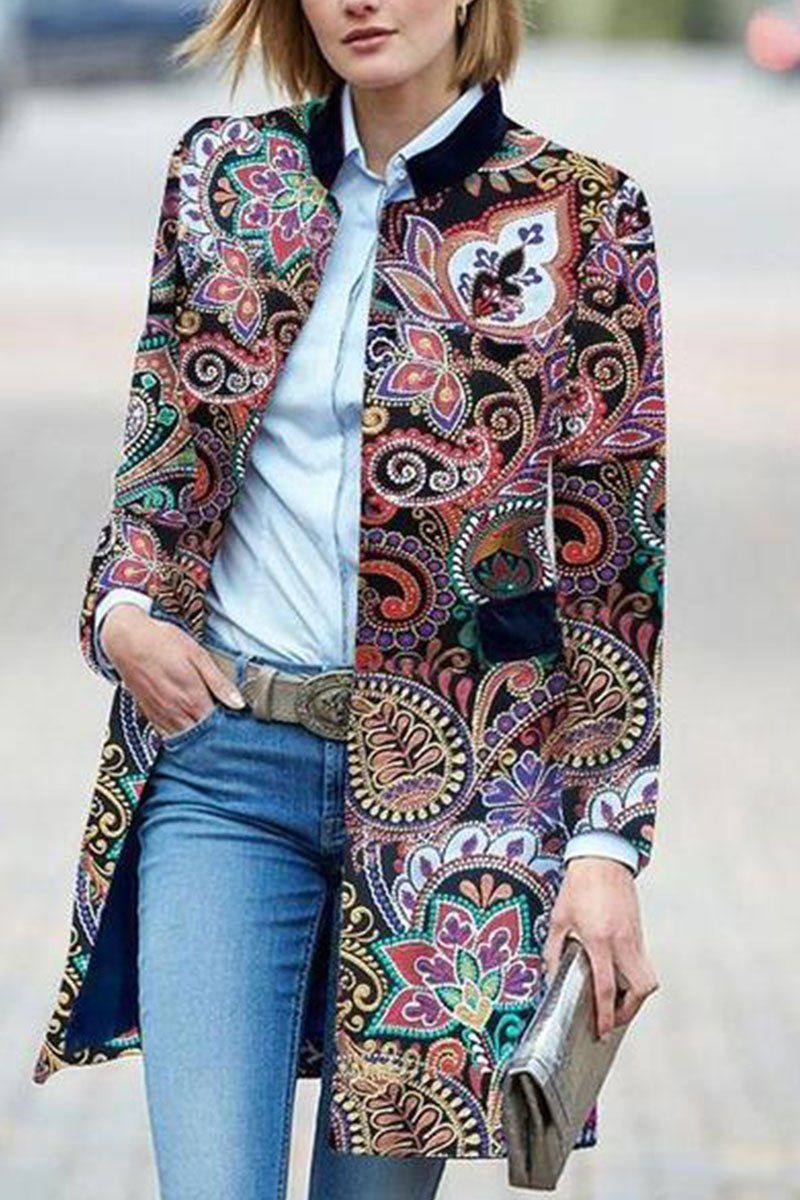 ecc6214d824 Product Fashion Floral Pattern Long Sleeve coat Brand Name Chicokay ...