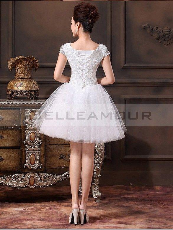Robe de mariée Courte Dentelle Tulle Civil A,ligne Romantique