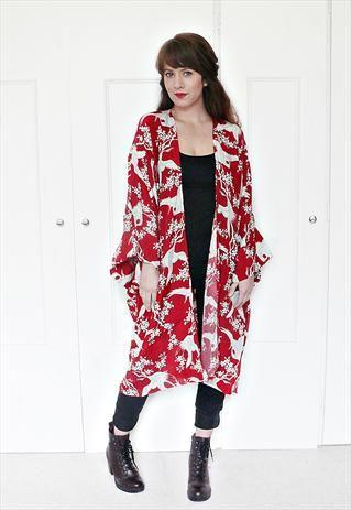 oriental swan print kimono jacket