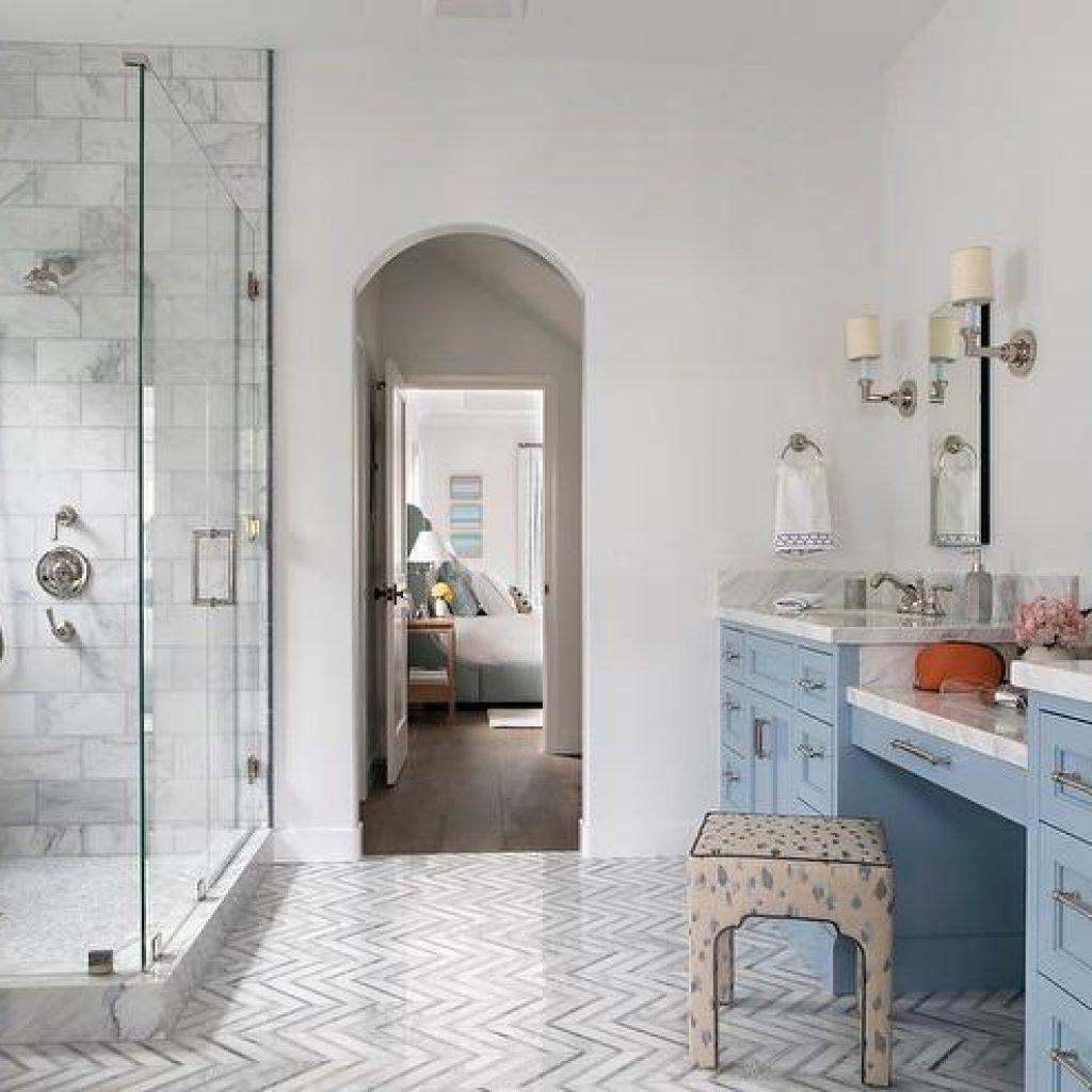 Decorpad Bathroom Floor White And Gray Marble Chevron