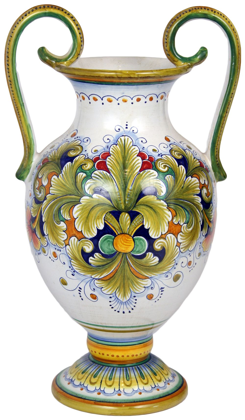 Italian style pottery italian ceramic handled table vase italian table vase acanthus decorative accessories by sorella luna inc italian majolica table vase acanthus style in high x 10 in diameter reviewsmspy