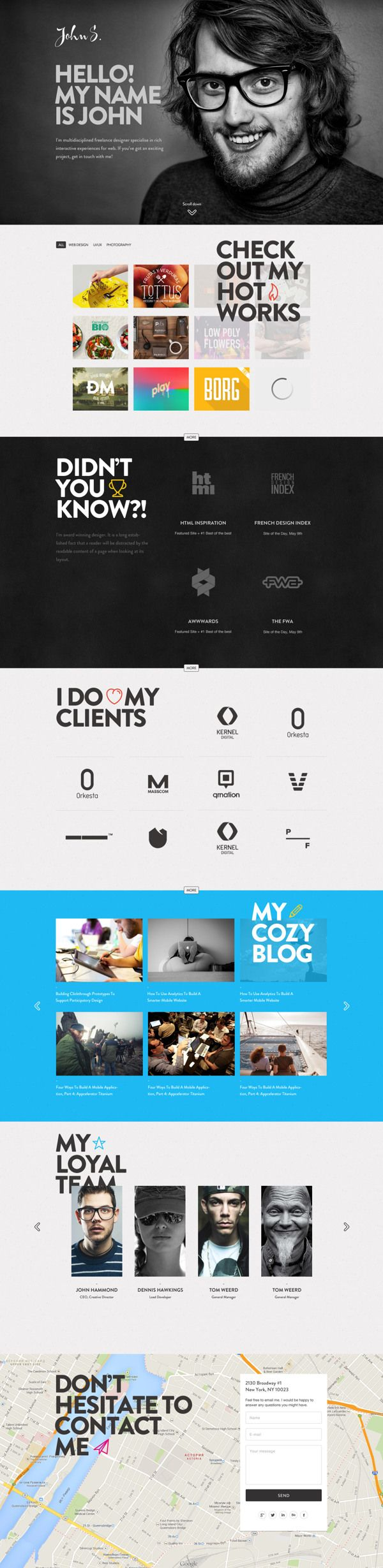 Responsive One Page Portfolio Joomla Template By Robert Gavick Via Behance