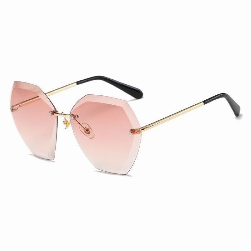 a2988f3ff9 Gradient Pink Trimmed Rimless Hexagonal Large Square Sunglasses ...