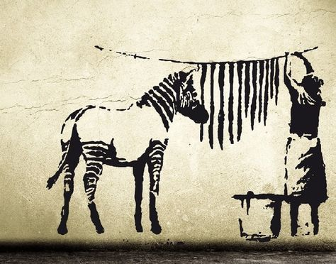 Banksy Decal ZEBRA STRIPES WASHING Laundry, Street Art Wall Decal, Graffiti Wall Sticker Vinyl, urban interior