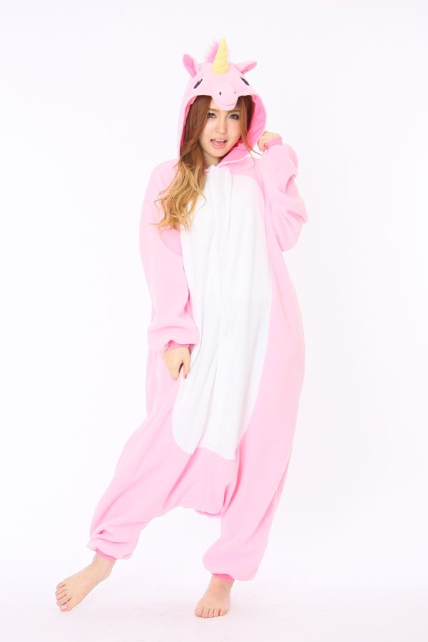 8d4ae939ab9b Pink Unicorn Onesie Kigurumi With Yellow Horn