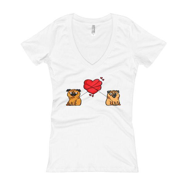 Pugs In Love Women's V-Neck T-shirt