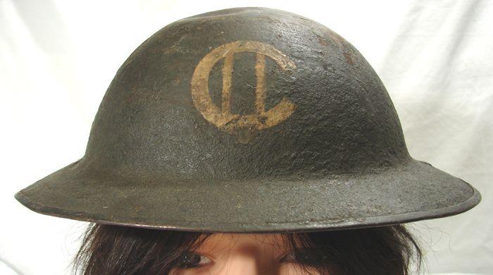 Canadian or British WW1(?) MK1 (?) Painted Helmet Marking ID