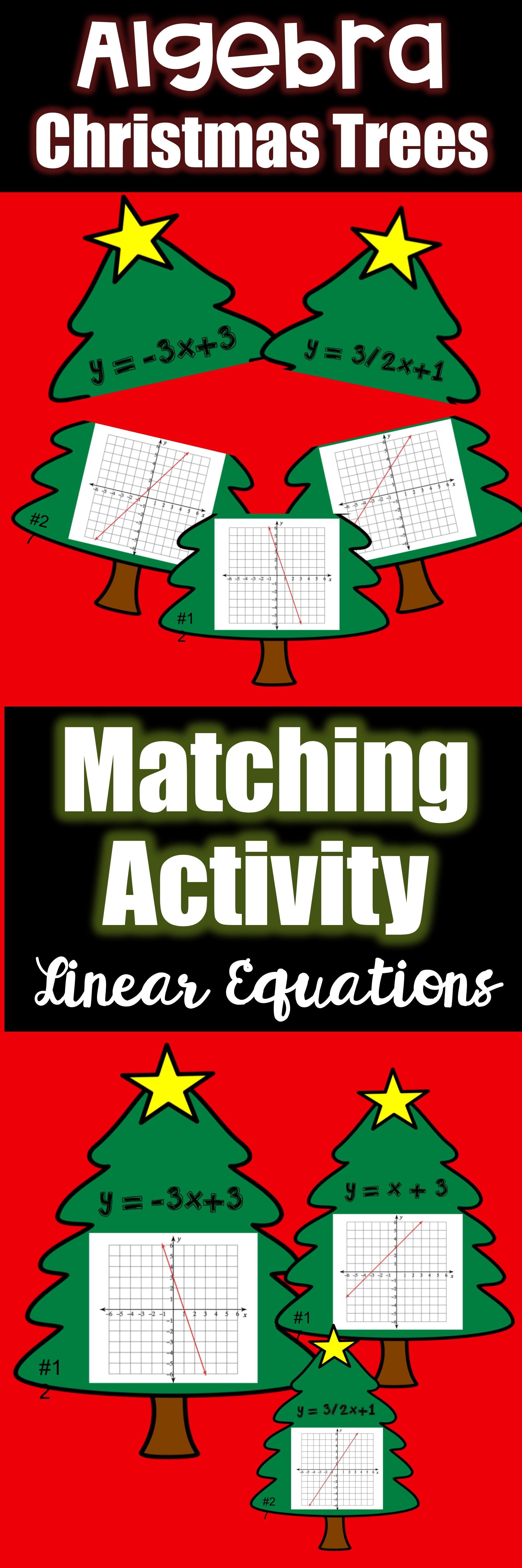 Linear Equations Matching Activity In Slope Intercept Form