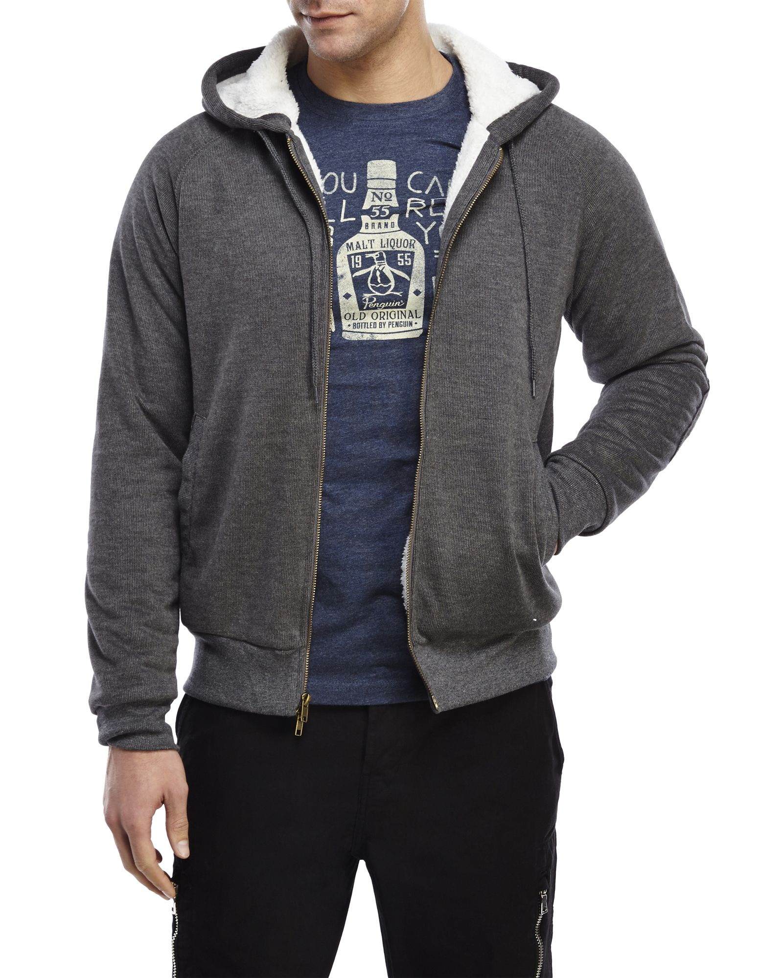 Natural Blue By Visitor Grey Sherpa Lined Zip Front Hoodie