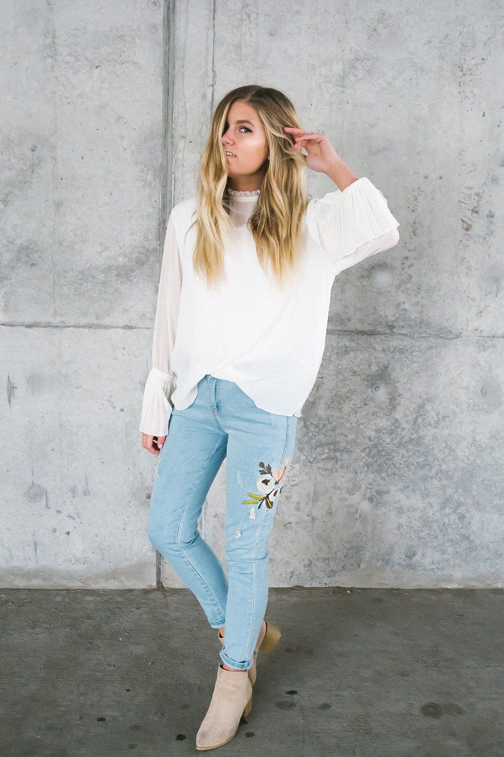 Floral embroidered denim jeans be here now clothing