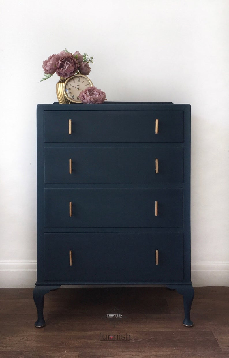 Large Dark Blue Chest Of Drawers With Vintage Gold Handles And Etsy Blue Chest Of Drawers Bedroom Chest Of Drawers Chest Of Drawers Decor