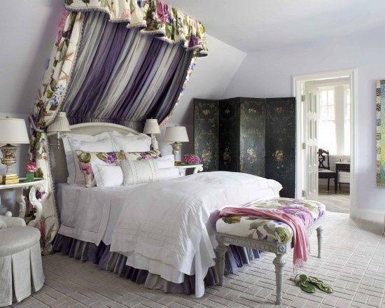 vintage-Schlafzimmer-mit-Dachschräge-himmelbett Einrichtung - dachschrge gestalten schlafzimmer