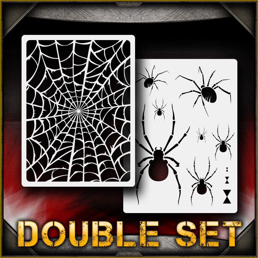 Details about spider web set 1 airbrush stencil template