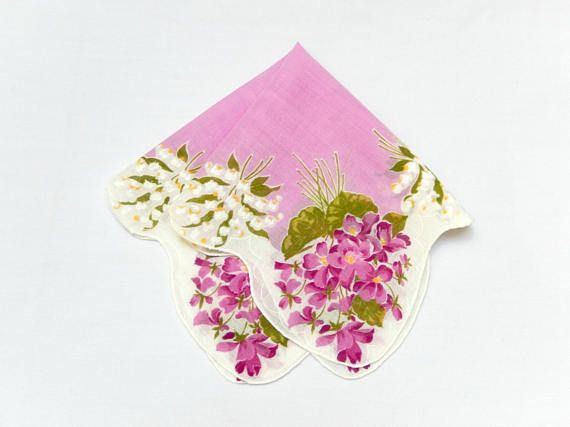 vintage handkerchief/lily of the valley/violets Spring