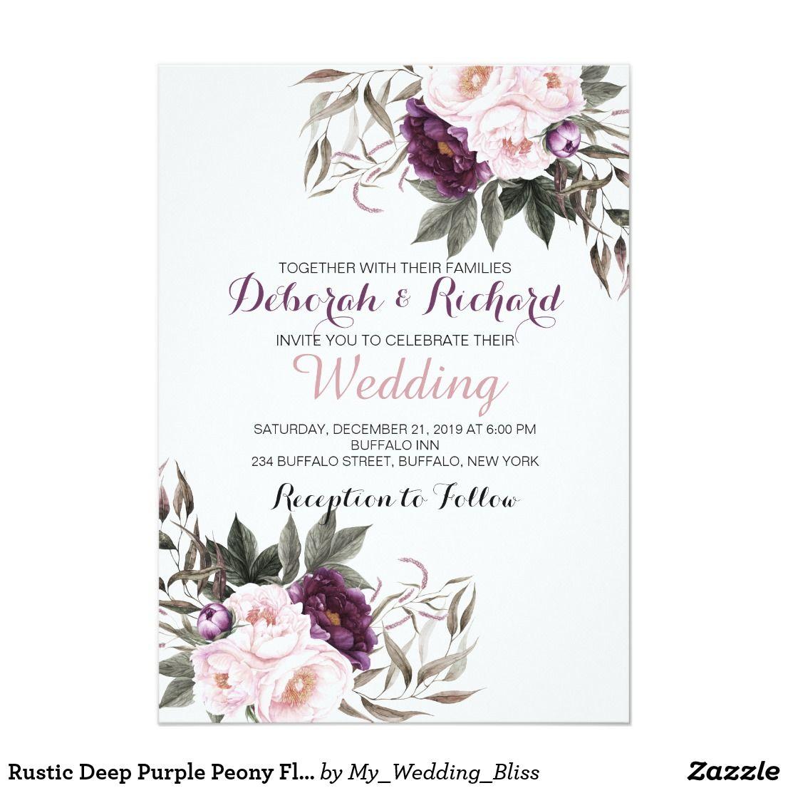 Purple Rustic Wedding Invitations: Rustic Deep Purple Peony Floral Wedding Card