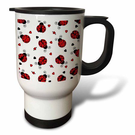 3drose Love Bugs Red Ladybug Print With Hearts Travel Mug 14oz Stainless Steel Ladybug Mugs Love Bugs