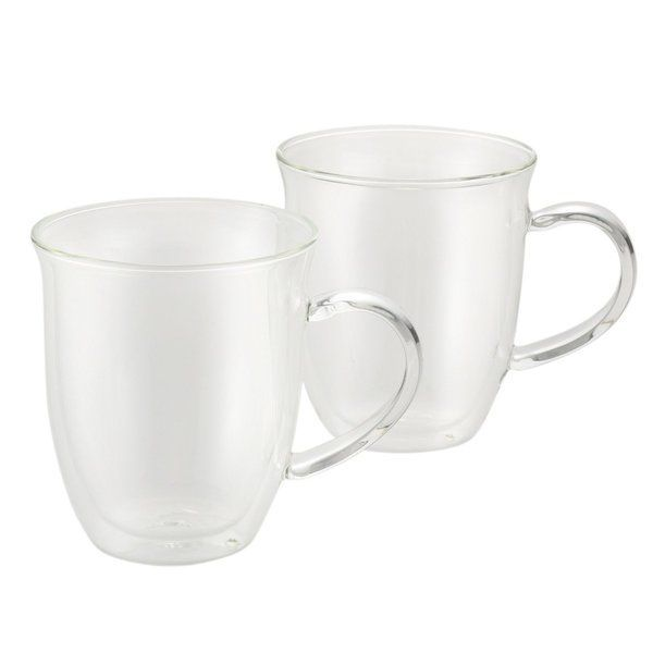 Sip espresso beverages cafe-style with this eye-catching bonjour coffee 2-piece insulated glass espresso cup set. The distinctive borosilicate glass design is both durable and beautiful, making these elegant hand-blown demitasse-sized cups ideal for serving and presenting espressos and macchiato. The insulated, two-layer glass walls of the 6-ounce cups help retain beverage temperature, and the shapely handle design provides ample room for solid hold. The espresso cups' innovative…