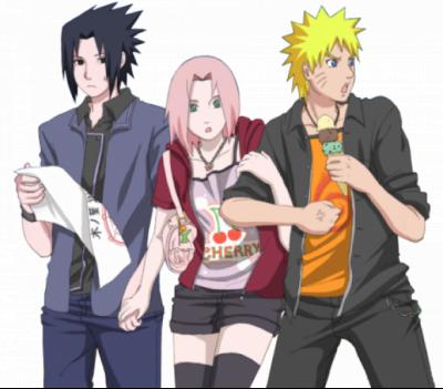 annoying sakura, duck-butt sasuke and crazy naruto. i love it :)