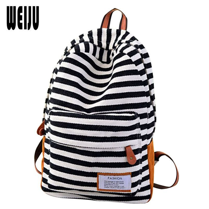 New 2017 Canvas Women Backpack Fashion Casual Striped Printing Backpacks Korean Travel. Item Type: BackpacksGender: WomenLining Material: PolyesterClosure Type: ZipperModel Number: YA0350Carrying System: Arcuate Shoulder StrapCapacity: Below 20 LitreBrand Name: WEIJURain Cover: NoInterior: Computer InterlayerMain Material: CanvasBackpacks Type: SoftbackPattern Type: StripedExterior: Solid BagHandle/Strap Type: Soft HandleDecoration: NoneStyle: Japan and Korean StyleTechnics: noneColor: 3…