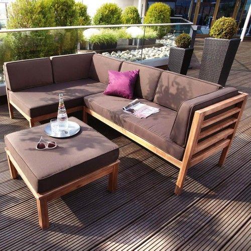 Fantastisch Loungemöbel Balkon Sitzecke Holz Akazie Teaklook M. Polster Taupe