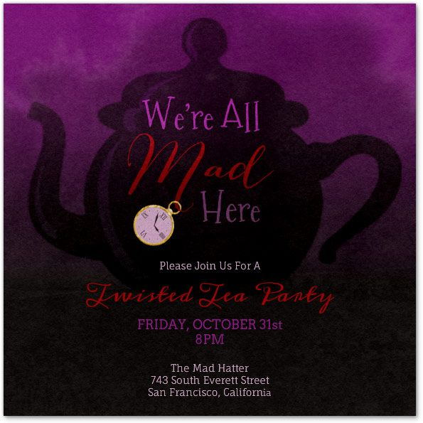 evite alice in wonderland twisted tea party invitation - Evite Halloween Party