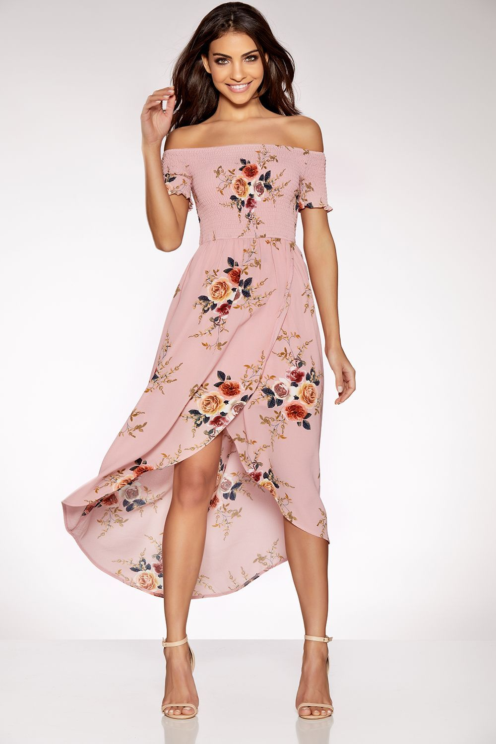 d90970637ba Pink Floral Print Bardot Wrap Dress
