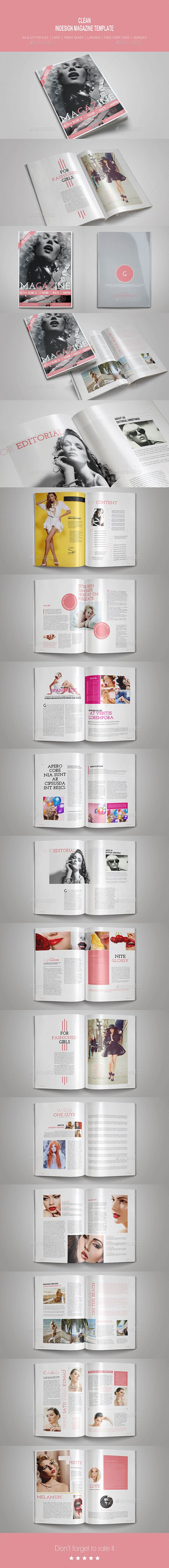 Clean InDesign Magazine Template | Revistas