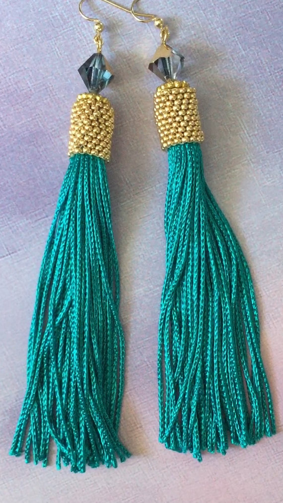 849c7b441874 Long Seed Bead Tassel Earrings Beaded Bright Teal and Gold Luxurious Fringe  Dangle Earrings Beadwor Aretes