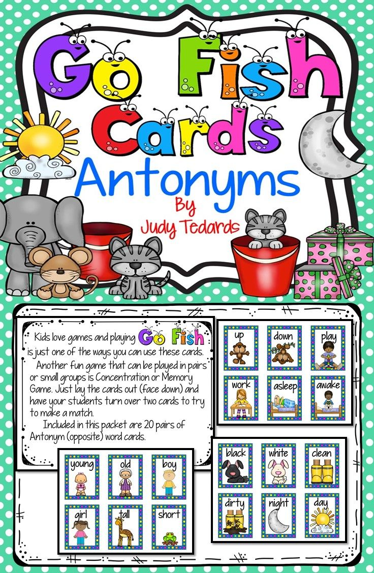 Go fish cards antonyms fun card games love games