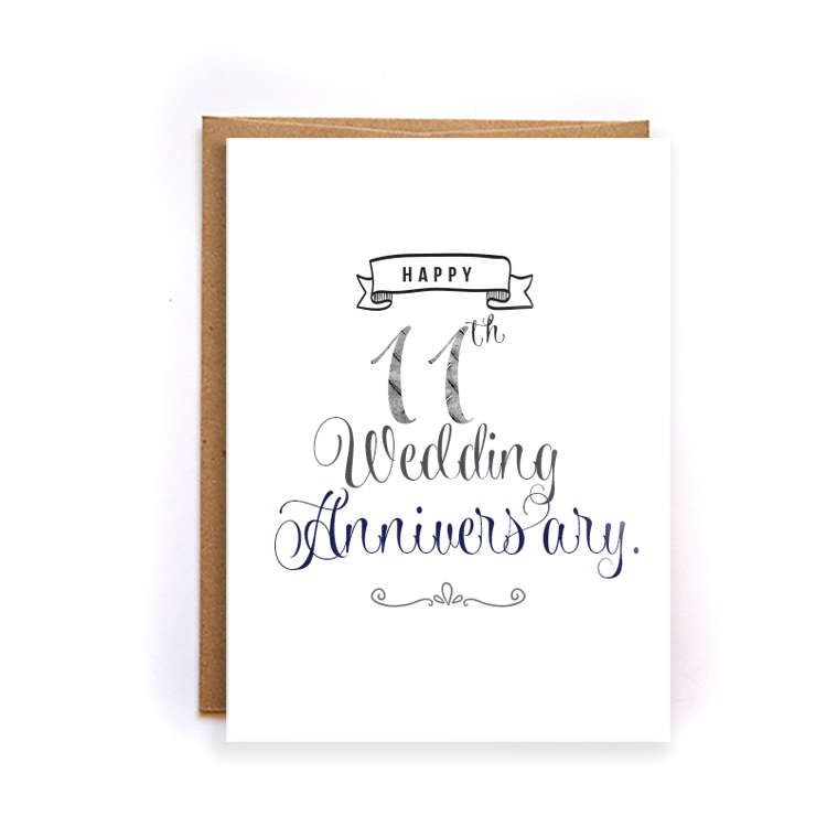 Gift For 11th Wedding Anniversary: 11th Anniversary Card, Steel Anniversary Card For Him
