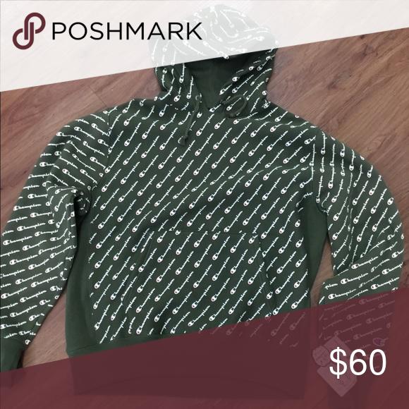 Champion Script Hoodie Green Hoodie Champion Sweaters