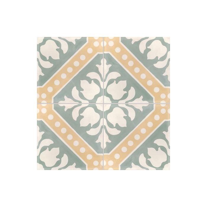 Carreau De Ciment Colore Motif 4 Carreaux Vert Jaune Et Blanc