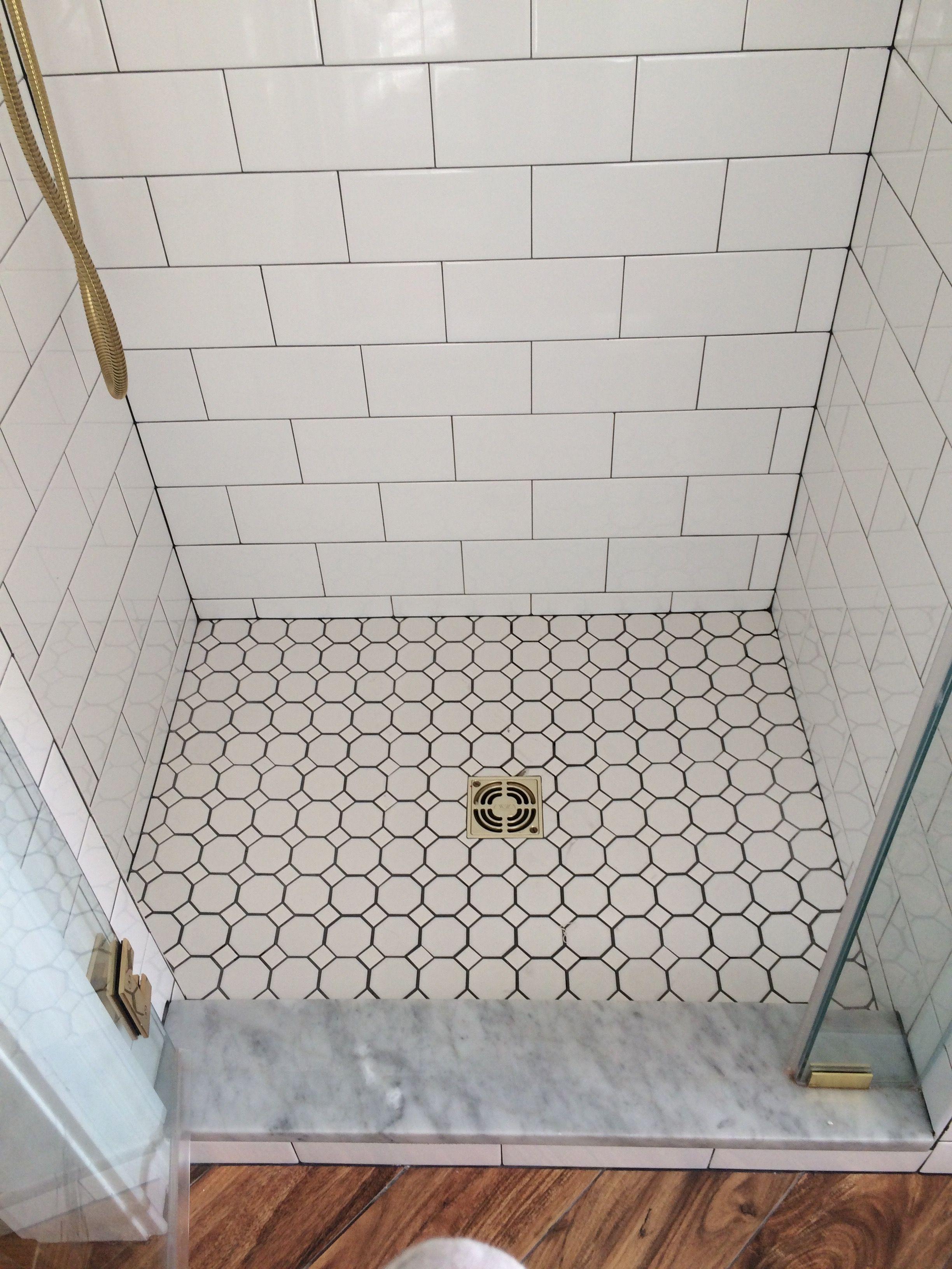 farmhouse bathroom shower floor octagon