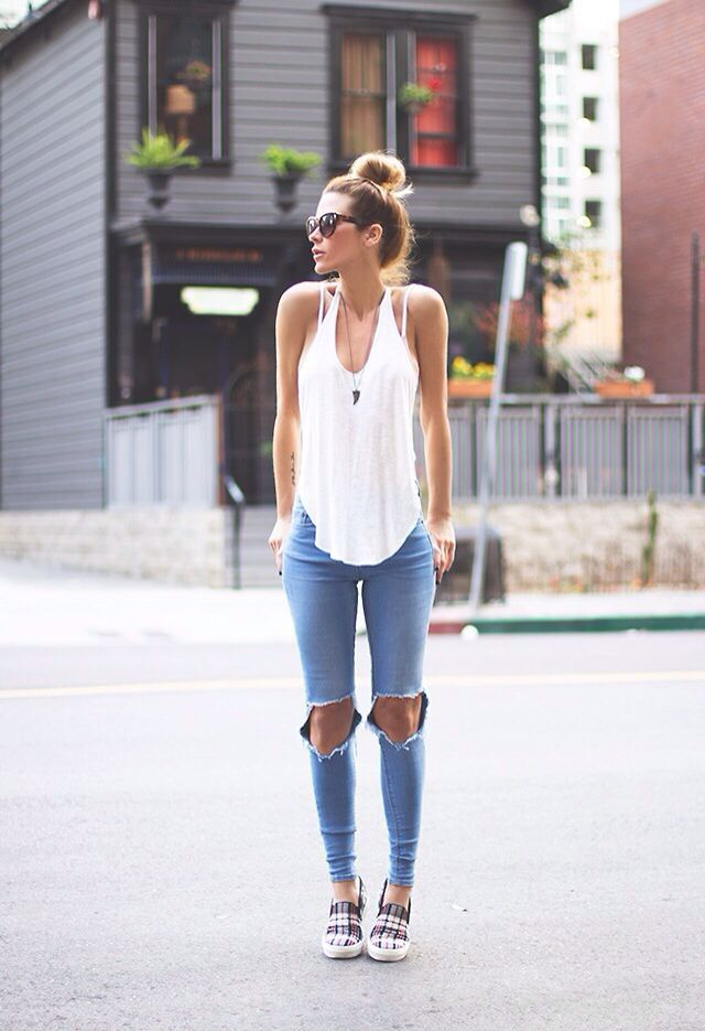 c7113f84a80a  roressclothes closet ideas  women fashion outfit  clothing style apparel  Ripped Jeans and Tank Top