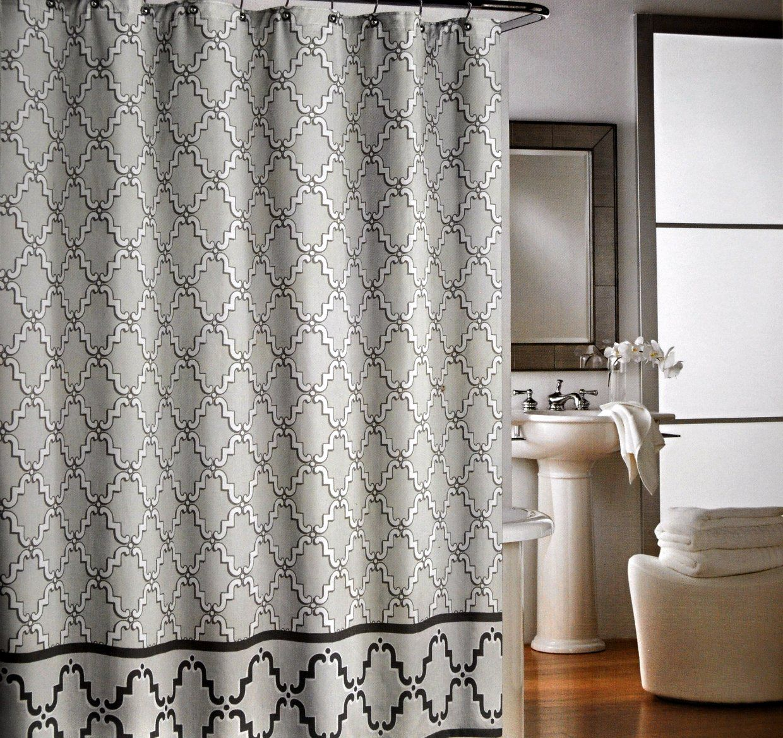 Cynthia Rowley Cotton Fabric Shower Curtain Gray Quatrefoil Trellis Lattice Fabric Shower Curtains Curtains Curtain Designs