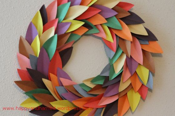 Colorful Spring Paper Wreath Paper Wreath Paper Leaf Wreath Spring Wreath