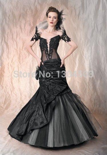 Robe Mariage 2014 Vintage Mermaid Black Gothic Wedding Dresses Short ...