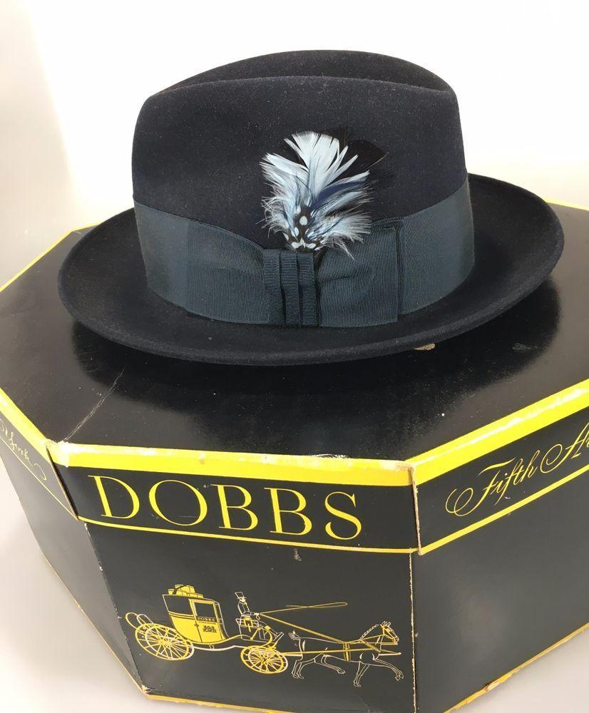 a63ba7ef0 Dobbs Fifth Av NY Mens 6 3/4 Admiralty Navy Blue Felt Fedora Hat w ...