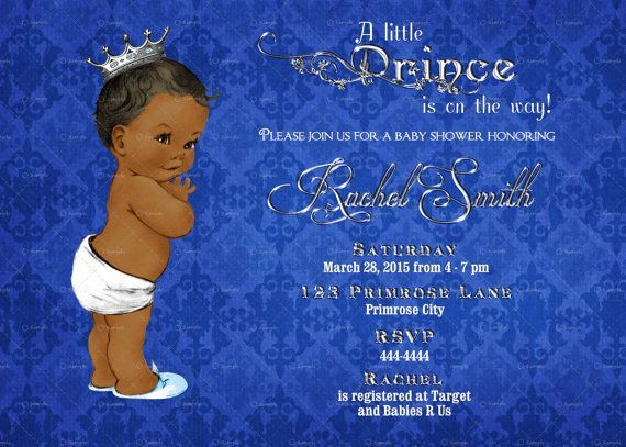 African american baby shower invitation boy printable royal blue african american baby shower invitation boy printable royal blue and silver royal baby shower invite blue baby boy invitation baby shower pinterest filmwisefo