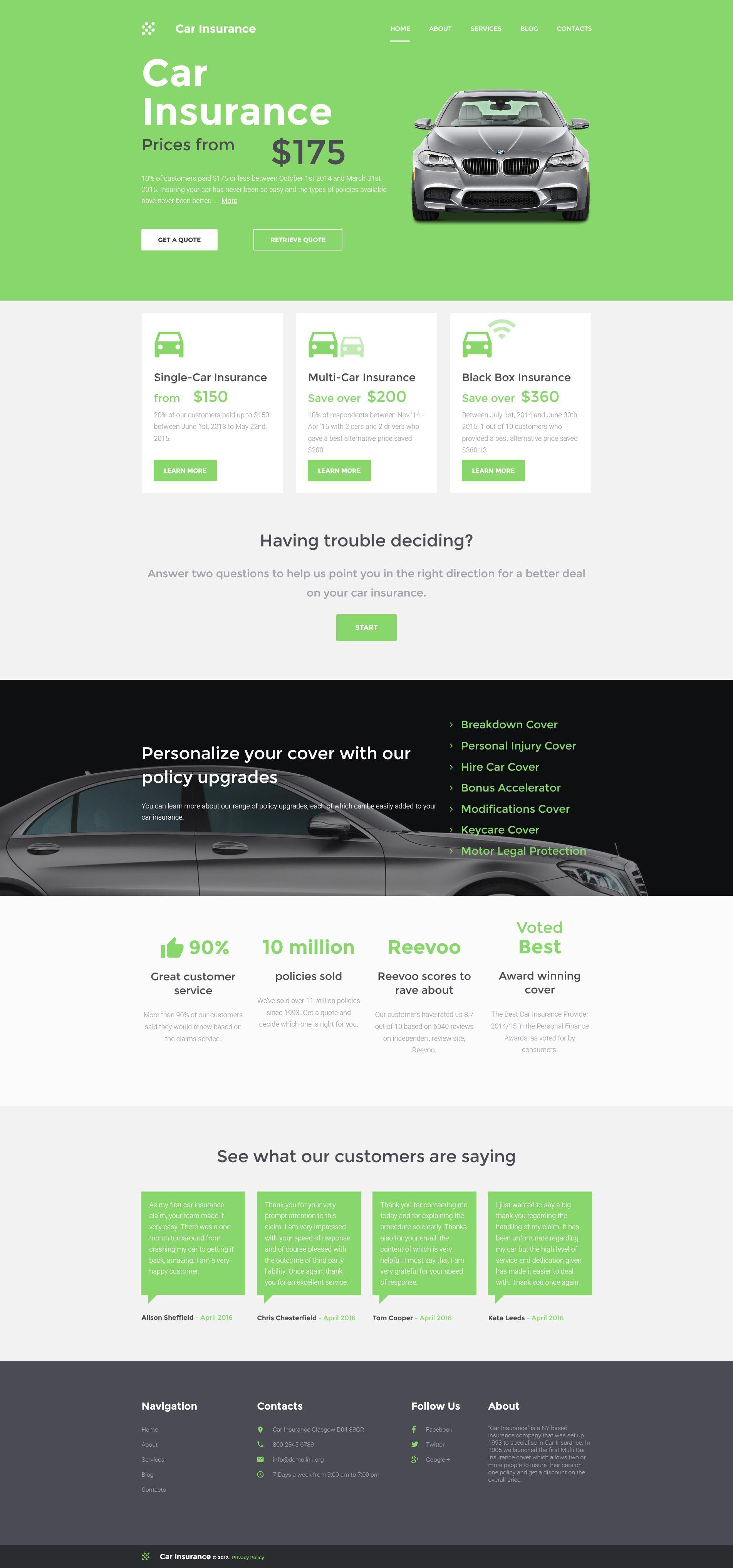 Car Insurance Responsive Moto Cms 3 Template 59414