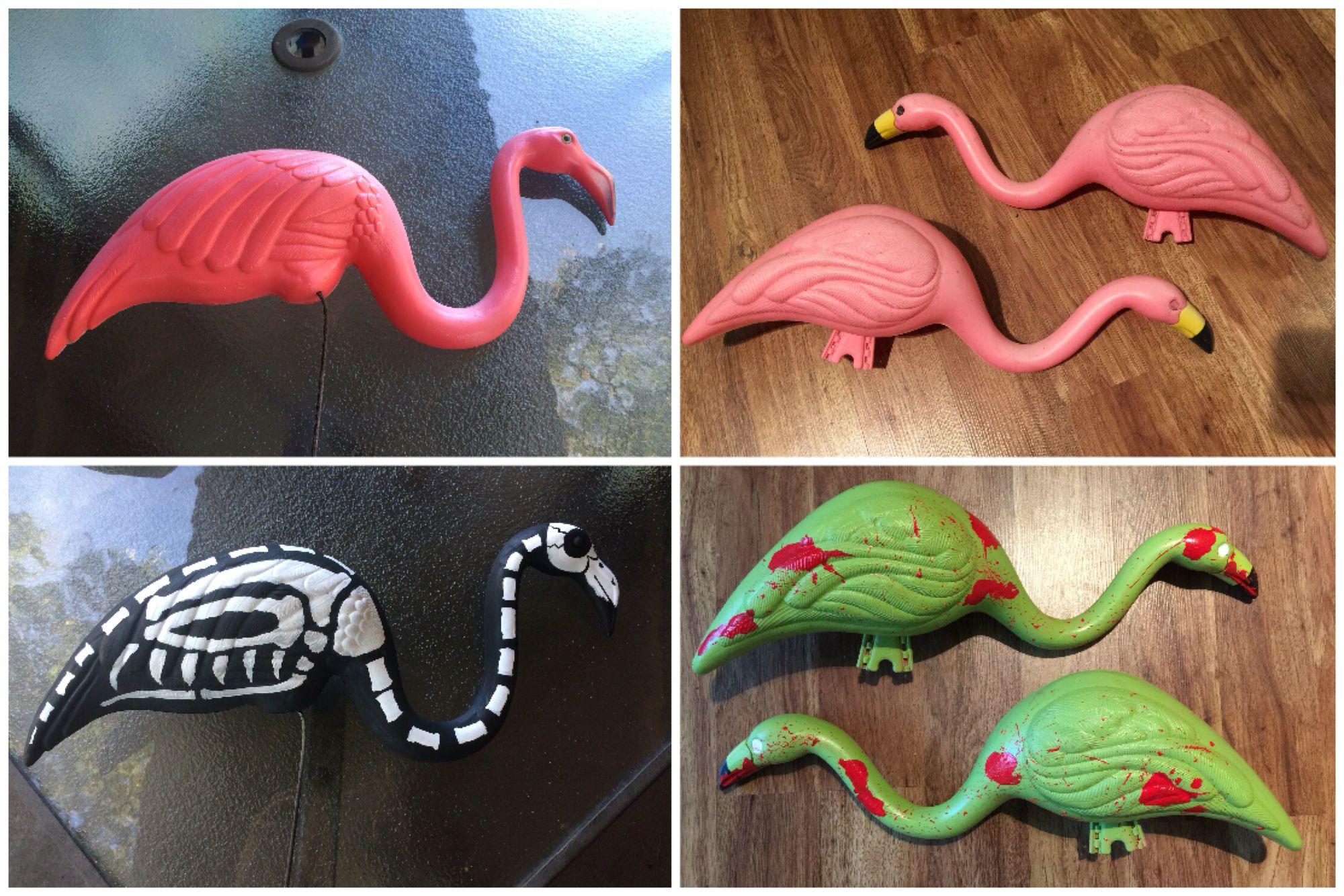 diy halloween painted flamingo. skeleton flamingo. zombie flamingo